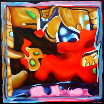 """""""Cerebration"""" - """"Bill"""" - Acrylique 50x50. Représentation figurative du cerveau de l'artiste! Ce qui est probablement vrai! Le titre «Bill» y est associé mais cela aurait pu être plein d'autres choses"""