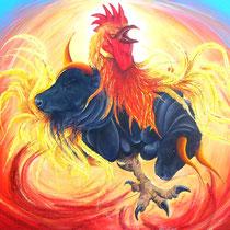 """""""Galarena"""" - Huile sur toile 100x75- Le Coq/Taureau est courageux, énergique, sensible à la notion d'utilité. Il n'aime pas perdre son temps. Comme tous les Coqs, il a tendance à asséner à son entourage des vérités assez indigestes mais souvent exactes"""