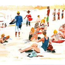 "Jean-Pierre Beillard - ""plage"" Aquarelle 20x30"
