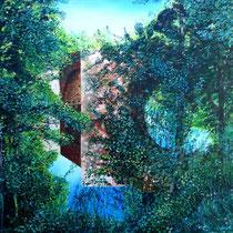 """Jean-Pierre Beillard - """"Pont Saint Blaise Najac Aveyron"""" - Acrylique sur toile 65x54"""