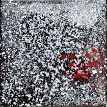 """""""Dark 007"""" - Acrylique Pouring + Glaçage Carré 20x20 sur Toile. Récréation coulante et brillante sur petit format."""