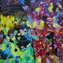 """Jean-Pierre Beillard - """"Sous Bois"""" - Abstraction acrylique sur toile technique couteau 80x80"""