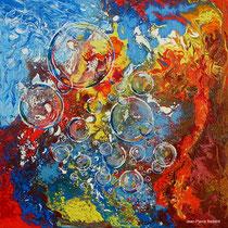 """Eléments 1"" - Mixed Média 70x70, résine- Ciel, terre, eau, feu"