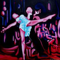 """""""Rumba 1"""" - Huile sur Toile 100x100cm. Grâce et Peinture, un moment artistique inspiré d'un magnifique moment de danse du couple Elena Khvorova et Slavik kryklyvyy"""