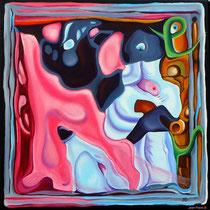 """""""Cerebration"""" - """"Harpie"""" - Acrylique 50x50. Représentation figurative du cerveau de l'artiste! Ce qui est probablement vrai! Le titre «Harpie» y est associé mais cela aurait pu être plein d'autres choses"""
