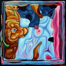 """""""Cerebration - """"Lady Cat"""" - Acrylique 50x50. Représentation figurative du cerveau de l'artiste! Ce qui est probablement vrai! Le titre «Lady Cat» y est associé mais cela aurait pu être plein d'autres choses"""