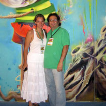 Fundiberarte Director Carolina Jaramillo and artist Rafael Espitia