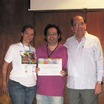 Fundiberarte Director Carolina Jaramillo, artist Rafael Espitia and Major of Cali Rodrigo Guerrero Velasco