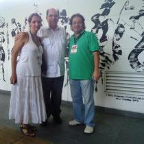 Fundiberarte Director Carolina Jaramillo, Major of Cali Rodrigo Guerrero Velasco and artist Rafael Espitia