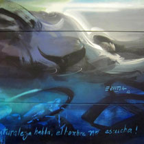 Mural of 4x2 mts by Rafael Espitia - Nature speaks, men don't listen…wake up!