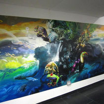 Mural of 4x2 mts by Rafael Espitia - Nature speaks, men don't listen…wake up!