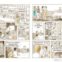 """Als Extra bekamen die Einladungen zur Goldenen Hochzeit einen kleinen nostalgischen Comic, der an das """"Damals"""" wieder erinnerte."""