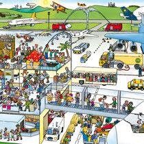Wimmelbuchverlag, Das große Flughafen Wimmelbuch, Einstieg und Rollfeld