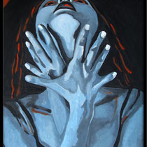 """""""la tempête n°3: la survie"""", portrait de l'artiste balladyna (55x38cm)"""