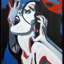"""la tempête n°2, portrait de l'artiste balladyna (55x38cm)"