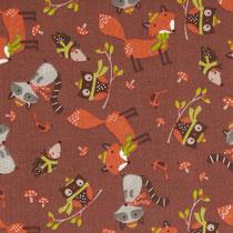 114. Tissu coton us marron animaux hiver