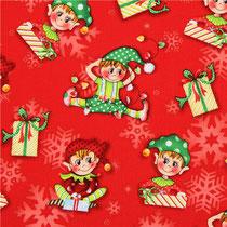 124. Tissu Glass rouge lutins de Noël