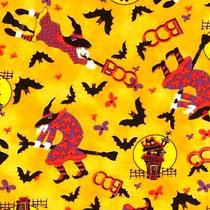 142. Tissu coton us orange sorcières boo halloween
