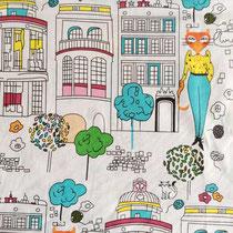 422. Tissu coton Oekotex Mlle chat en ville