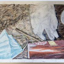 Corona 3 (Maske), 15x21cm, Zeichnung Farbstifte, Ölkreiden, 2020