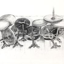 Corona 11 (Lockdown), Zeichnung Kohle auf Papier, 84x59cm, 2021
