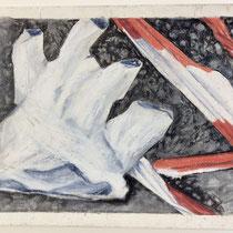 Corona 4 (Absperrung), 15x21cm, Zeichnung Farbstifte, Ölkreiden, 2020