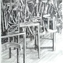 Corona 6 (Lockdown), Zeichnung Kohle auf Papier, 84x59cm, 2020