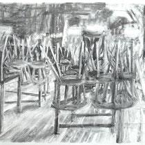 Corona 5 (Lockdown), Zeichnung Kohle auf Papier, 59x84cm, 2020