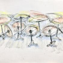 Corona 14 (Lockdown), 70x100cm, Zeichnung Kohle, Kreide, Farbstifte, Eitempera, 2021