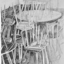 Corona 10 (Lockdown), Zeichnung Kohle auf Papier, 84x59cm, 2020