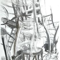 Corona 9 (Lockdown), Zeichnung Kohle auf Papier,84x59cm, 2020