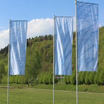 Fahnen Nadine Pasianotto, jeweils 4,5 m × 1,5 m, Saargarten Beckingen, Foto: Nina Wilhelmy