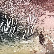 """Winterlandschaft"", Aquatinta Farbradierung, 24 * 18 cm"
