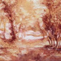 """""""Südliche Landschaft"""", Kreidezeichnung, 52 * 42 cm"""