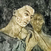 """Mutter mit Kind"", Aquatinta Farbradierung, 24 * 30 cm"