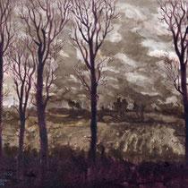 """""""Abend überm Feld"""" (Norfbach-Nievenheim), Sepia, 40 * 32 cm"""