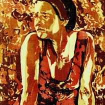 """Kontemplation"", 2019, Farbholzschnitt, 25 * 20 cm / Contemplation, color woodcut"