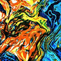 """""""Unruhig ist unser Herz bis es ruhet in dir """", 2019, Farbholzschnitt (verlorener Schnitt), 28,5 * 21 cm"""