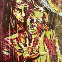 """Sedes Sapentiae"", Farbholzschnitt, 28 * 20,5 cm / Color woodcut"
