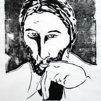 """Selbstportrait"", Holzschnitt, 24,5 * 20 cm / Self-portrait"