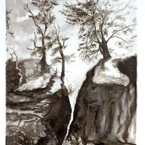 """""""Landschaft im Elbsandsteingebirge"""", Sepia, 30 * 36 cm"""