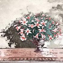 """""""Stilleben mit Lilien"""", Aquatinta Farbradierung, 30 * 24 cm"""