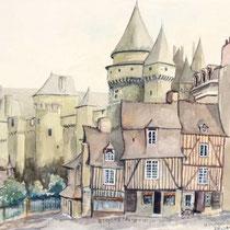 """""""Le chateau de Vitre"""", Aquarell, 32,5 * 26 cm"""