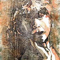 """Mädchen"", Farbholzschnitt, 26 * 20 cm / Girl, color woodcut"