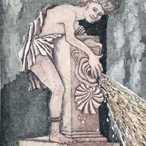 """Im Garten des Pilatos"", Aquatinta Farbradierung, 18 * 23,5 cm"