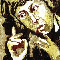 """Mahnender Christus"", Farbholzschnitt, 20 * 16 cm / Christ - reminding us, color woodcut"