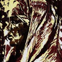 """Maria Magdalena"", 2019, Farbholzschnitt, 28,5 * 21 cm / Mary Magdalena, color woodcut"