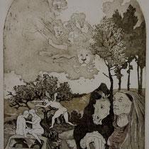 """Wächter des Glücks"", Aquatinta, 21 * 28,5 cm"