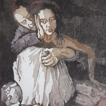 """""""Nur keine Berührungsängste"""", Aquatinta Farbradierung, 23,5 * 29,5 cm / No fear to touch"""