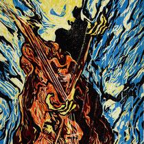 """""""Der Tod spielt Kontrabass"""", 2019, Farbholzschnitt, 28,5 * 21 cm / Death playing double bass, color woodcut"""
